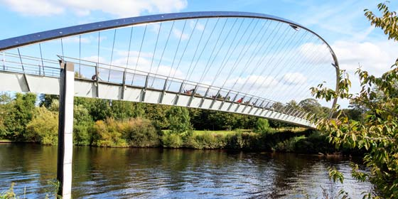 York Millenium Bridge. Many footpaths and cycle paths meet at this popular York picnic spot